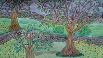 Sonnenblumen, Steinmauer, Olivenbäume, Mischtechnik
