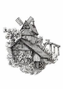 Zeichnung, Wassermühle, Fantasie, Ostern