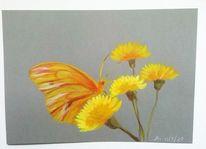 Schmetterling, Blumen, Acrylmalerei, Zeichnungen