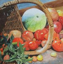 Aquarellmalerei, Melone, Korb, Obst