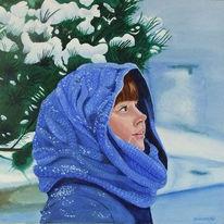 Schnee, Aquarellmalerei, Winter, Portrait