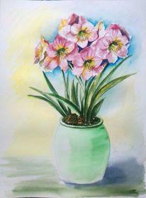 Stillleben, Aquarellmalerei, Blumen, Vase