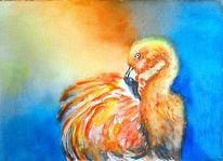 Aquarellmalerei, Flamingo, Gelb, Aquarell tiere