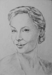 Bleistiftzeichnung, Portrait, Frauenportrait, Zeichnung