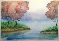 Spiegelung, Nebel, Landschaft, Grün