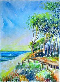 Natur, Aquarellmalerei, Meer, Baum