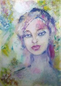 Spachteltechnik, Rosa, Abstrakt, Frauenportrait