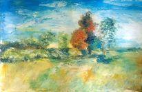 Berge, Malerei landschaften, Acrylmalerei, Blau