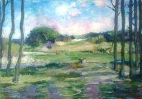 Acrylmalerei, Wiese, Blau, Landschaft