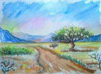 Gelb, Landschaftsmalerei, Sommer, Weg
