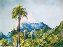 Aquarellmalerei, Palmen, Landschaft, Himmel