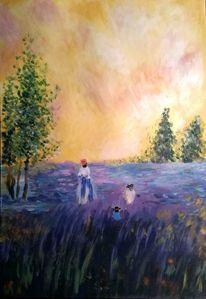 Landschaftsmalerei, Acrylmalerei, Baum, Blumen