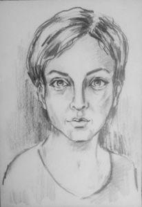 Frauenportrait, Weiß, Gesicht, Bleistiftzeichnung