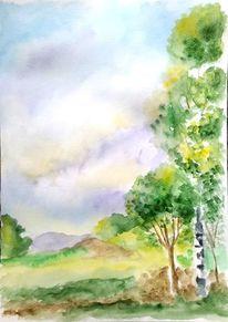 Birken, Aquarellmalerei, Berge, Landschaft
