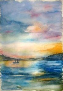 Aquarellmalerei, Landschaft, Boot, Meer