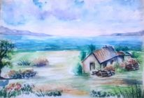 Feld, Aquarell landschaften, Aquarellmalerei, Bunt