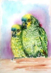Papagei, Aquarellmalerei, Grüne papageien, Tiere