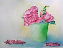 Vase, Aquarellmalerei, Stillleben, Blumen