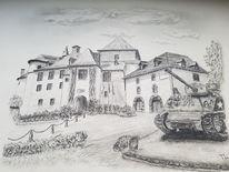 Schloss, Bleistiftzeichnung, Zeichnung, Landschaft
