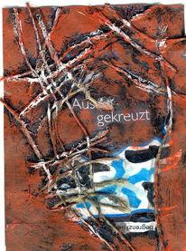 Acrylmalerei, Abstrakt, Faden, Mischtechnik