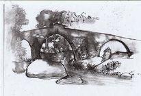Landschaft, Spanien, Zeichnung, Zeichnungen