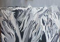 Gebirgslandschaft, Acrylmalerei, Abstrakt, Landschaft