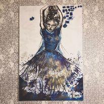 Blau, Malerei, Abstrakt, Figur