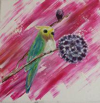 Blumen, Vogel, Gemälde, Malerei