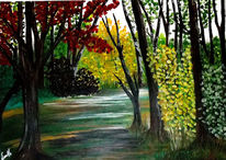Grün, Wald, Blau, Acrylmalerei