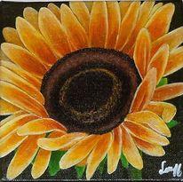 Sonnenblumen, Malerei, Grün, Blau