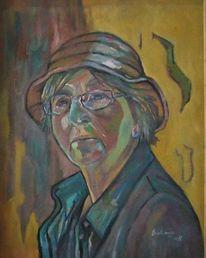 Portrait, Blick, Ölmalerei, Frau