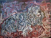 Acrylmalerei, Spaghetti, Hund, Malerei
