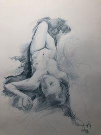 Frau, Studie, Akt, Zeichnen