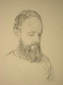Selbstportrait, Bart, Lesen, Portrait