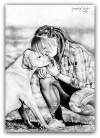 Hund und mensch, Hundezeichnung, Zeichnung, Freundschaft