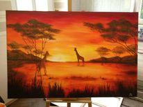 Acrylmalerei, Afrika, Tiere, Malerei