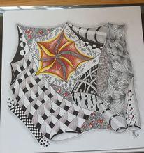 Buntstifte aus aquarellpapier, Zentanglen, Fantasie, Zeichnung