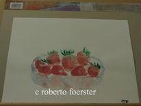 Aquarellmalerei, Erdbeeren, Stillleben, Aquarell