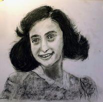 Bleistiftzeichnung, Din a3, Anne frank, Zeichnungen