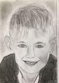 Junge, Lächeln, Bleistiftzeichnung, Zeichnungen