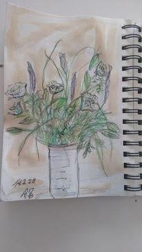 Valentinstag, Blumen, Skizze, Zeichnungen