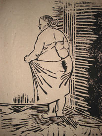 Holzschnitt, Frau, Handtuch, Druckgrafik