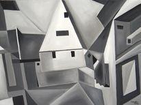 Acrylmalerei, Häuser, Stadt, Malerei