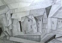 Bleistiftzeichnung, Häuser, Grau, Zeichnungen