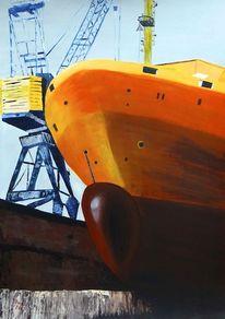 Trockendock, Acrylmalerei, Schiff, Malerei