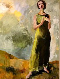 Junge frau, Acrylfarben, Einsamkeit, Malerei
