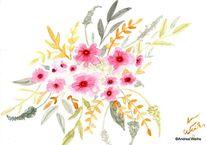 Malerei, Aquarellmalerei, Blumen, Aquarell