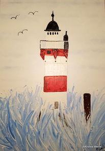 Roter sand, Maritim, Weiß, Acrylmalerei