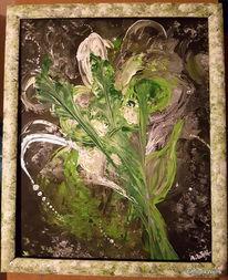 Silber, Weiß, Acrylmalerei, Blumen
