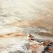 Burg, Malerei, Nebel, Abstrakt